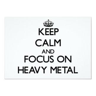 Mantenha a calma e o foco no metal pesado convite personalizado