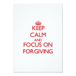 Mantenha a calma e o foco no perdão convite 12.7 x 17.78cm