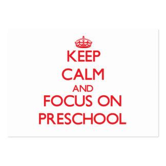 Mantenha a calma e o foco no pré-escolar cartoes de visitas