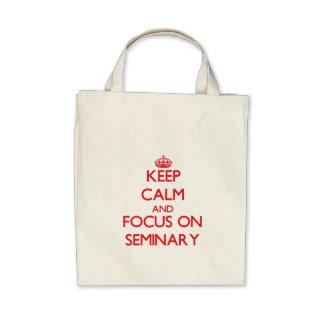 Mantenha a calma e o foco no seminário bolsa de lona