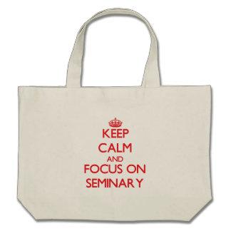 Mantenha a calma e o foco no seminário bolsas de lona
