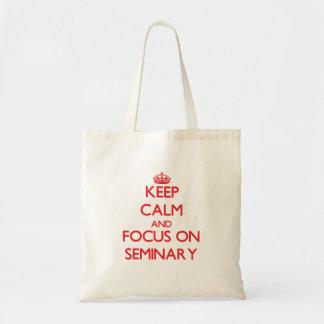 Mantenha a calma e o foco no seminário sacola tote budget