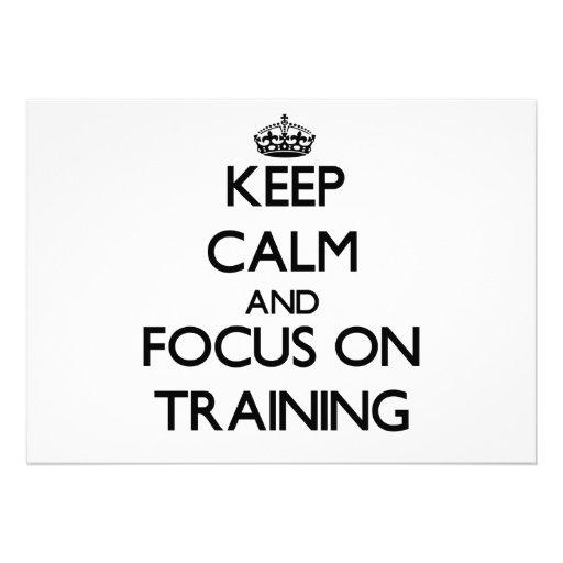 Mantenha a calma e o foco no treinamento convite personalizado