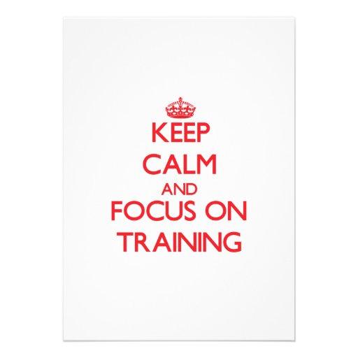 Mantenha a calma e o foco no treinamento convite personalizados