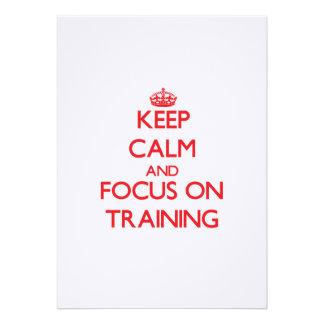 Mantenha a calma e o foco no treinamento convites