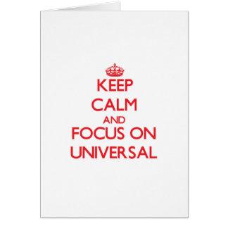 Mantenha a calma e o foco no universal cartão