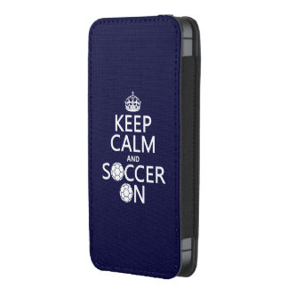 Mantenha a calma e o futebol sobre bolsa para celular
