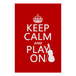Mantenha a calma e o jogo em (violino) (alguma cor poster