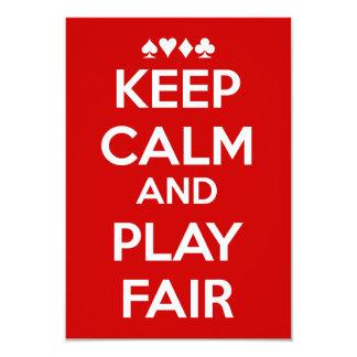 Mantenha a calma e o jogo justos convite 8.89 x 12.7cm