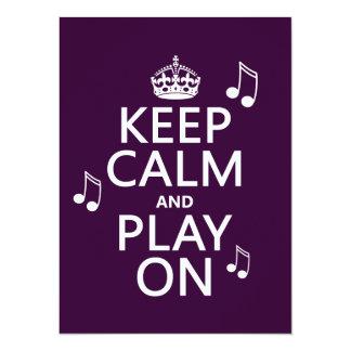 Mantenha a calma e o jogo sobre - notas da música convite 13.97 x 19.05cm