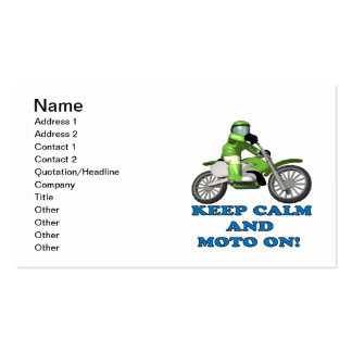 Mantenha a calma e o Moto sobre Cartão De Visita