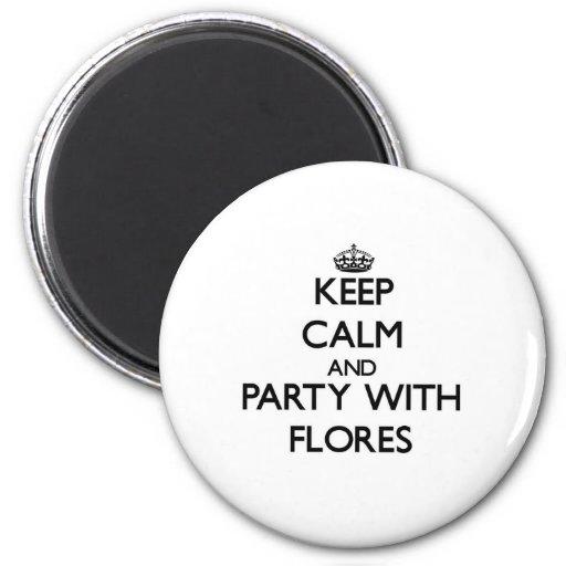 Mantenha a calma e o partido com Flores Ima De Geladeira