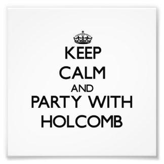 Mantenha a calma e o partido com Holcomb Fotos