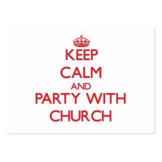 Mantenha a calma e o partido com igreja cartões de visita