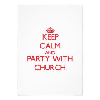 Mantenha a calma e o partido com igreja convite personalizados