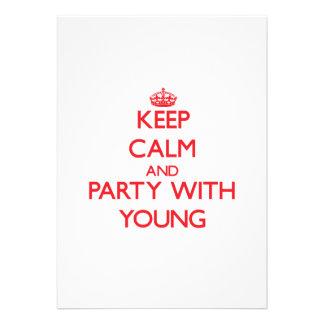 Mantenha a calma e o partido com jovens convite personalizados