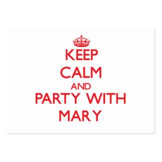 Mantenha a calma e o partido com Mary Cartões De Visitas