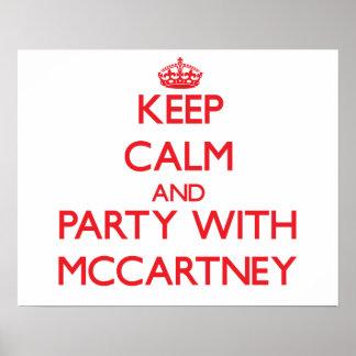 Mantenha a calma e o partido com Mccartney Pôsteres
