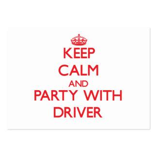 Mantenha a calma e o partido com motorista cartoes de visita