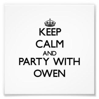 Mantenha a calma e o partido com Owen Impressão Fotográficas