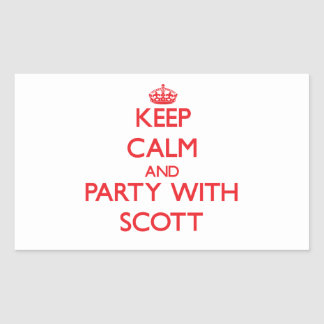 Mantenha a calma e o partido com Scott Adesivos Em Formato Retangulares