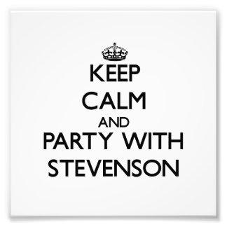 Mantenha a calma e o partido com Stevenson Impressão De Foto