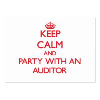 Mantenha a calma e o partido com um auditor cartão de visita grande
