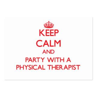 Mantenha a calma e o partido com um fisioterapeuta cartao de visita