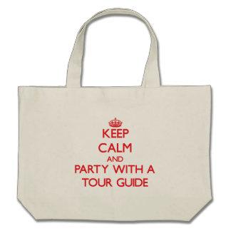 Mantenha a calma e o partido com um guia turística bolsa para compras