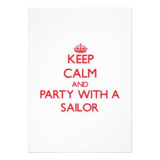 Mantenha a calma e o partido com um marinheiro convites personalizados