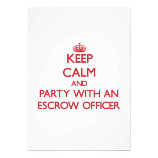 Mantenha a calma e o partido com um oficial do com convite
