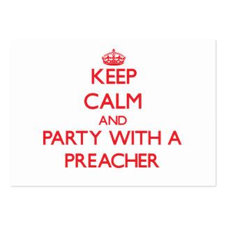 Mantenha a calma e o partido com um pregador cartão de visita grande