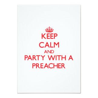 Mantenha a calma e o partido com um pregador convite 12.7 x 17.78cm