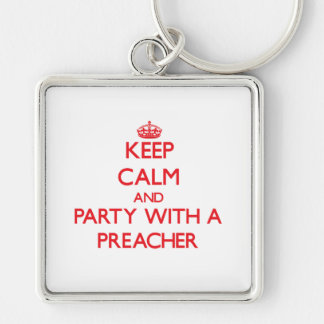 Mantenha a calma e o partido com um pregador chaveiros
