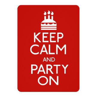 Mantenha a calma e o partido no bolo de convite 12.7 x 17.78cm