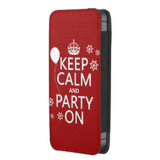 Mantenha a calma e o partido sobre - todas as bolsinha para celular