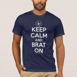 Mantenha a calma e o pirralho no camiseta