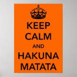 Mantenha a calma e o poster de Hakuna Matata Pôster