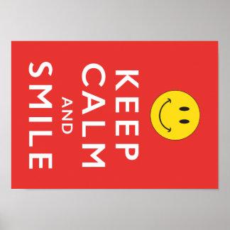 Mantenha a calma e o sorriso, poster do smiley