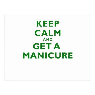 Mantenha a calma e obtenha um Manicure Cartoes Postais