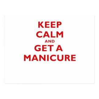 Mantenha a calma e obtenha um Manicure Cartao Postal