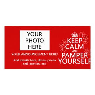 Mantenha a calma e Pamper (alguma cor) Cartões Com Foto Personalizados
