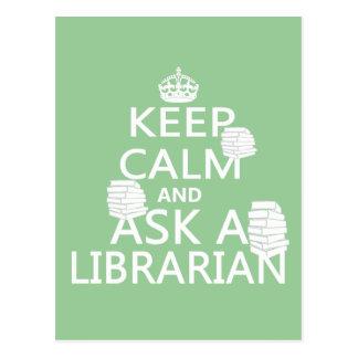 Mantenha a calma e pergunte a um bibliotecário cartão postal