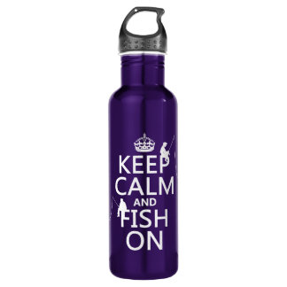 Mantenha a calma e pesque sobre - cores garrafa d'água