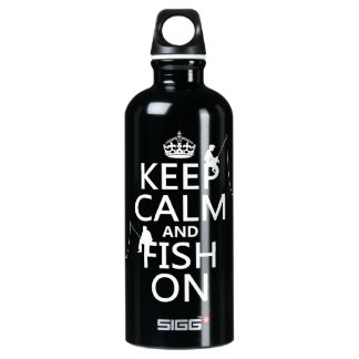 Mantenha a calma e pesque sobre - cores garrafa d'água de alumínio