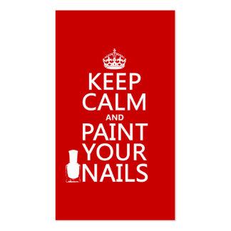 Mantenha a calma e pinte suas unhas (todas as core cartão de visita