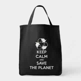Mantenha a calma e salvar o planeta sacola tote de mercado