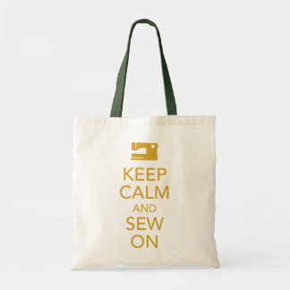 Mantenha a calma e Sew na sacola amarela Bolsas Para Compras