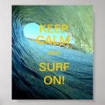 Mantenha a calma e surfe-a sobre! posteres