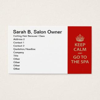 Mantenha a calma e vá aos termas cartão de visitas